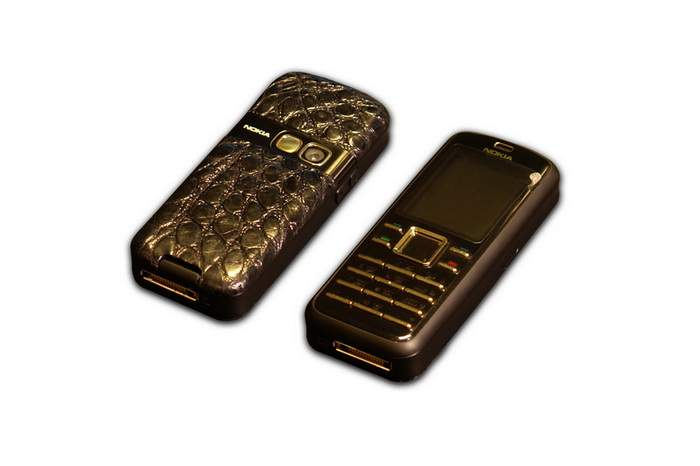MJ Restating Mobile Phone - Nokia 6080 Crocodile Leather, Gold Buttons