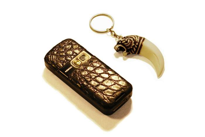 MJ Leather Phone & Ivory USB Flash Drives - Crocodile Genuine Leather & Ivory Bones