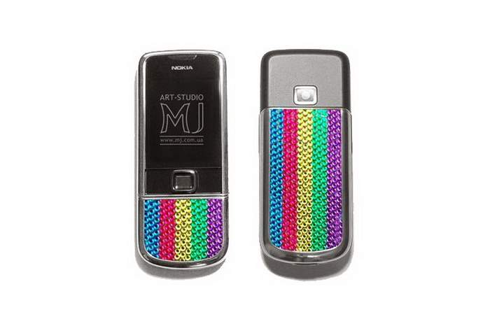 MJ Rhodium Mobile Phone - Titan Case Gilding Rhodium, Decorate Rainbow Swarovski