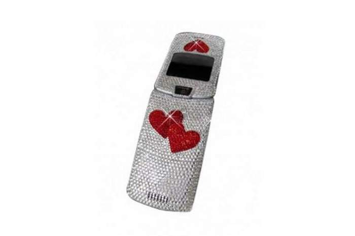MJ Red Heart Swarovski Mobile Phone - GSM & CDMA Standard Communication