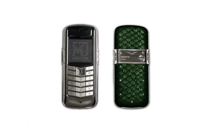 MJ Exotic Phone - Case from Platinum 950, Green Snake Skin