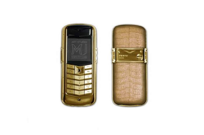 MJ - Ladies Mobile Phone Beige Edition - Light Brown Crocodile in Pure Gold Case 999