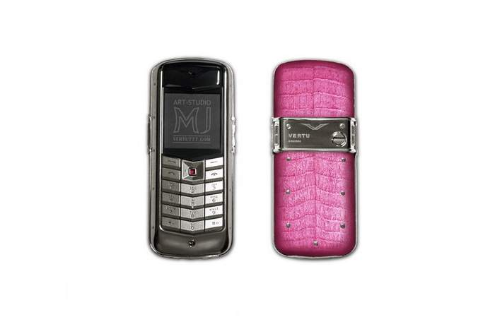 MJ Cool Pink Girl Mobile Phone - Vertu Constellation Gentle Gentle Rouse Crocodile Leather