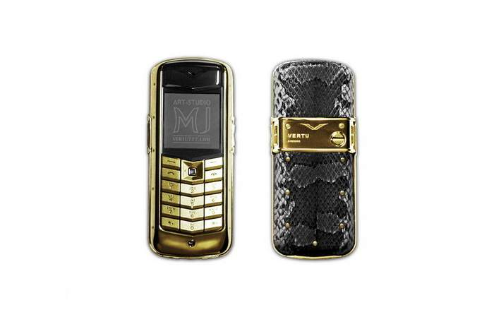 MJ Ultra DeLux Mobile Phone - Vertu Constellation Gold, Python Leather, Blue Diamond