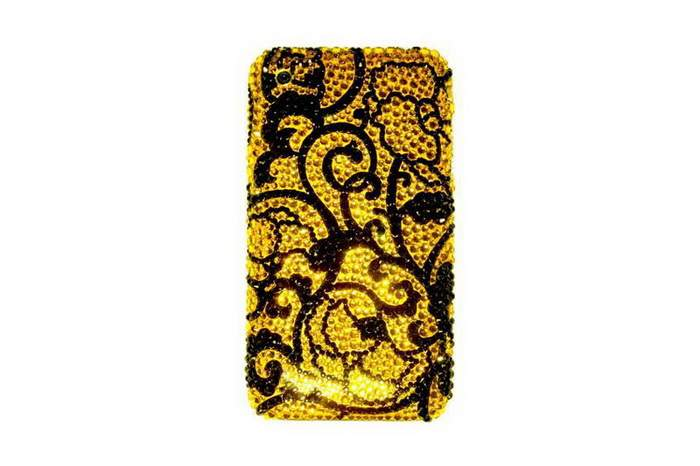 MJ Gold Swarovski Mobile Phone Single-Copy, Inlaid Black & Gold Swarovski