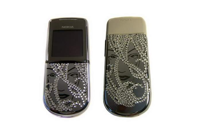 MJ Fashion Mobile Phone Limited Edition - Nokia 8800 Sirocco Silver Case Inlaid Crystal Swarovski