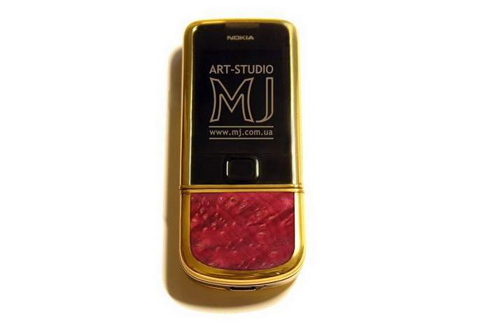 MJ Wood Mobile Phone Special Edition - Unique Gold 777, Bloodwood - Red Mahogany