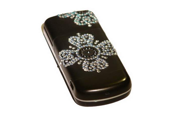 MJ Exclusive Mobile Phone Single Copy - Inlaid Flowers from Blue, White & Black Diamonds