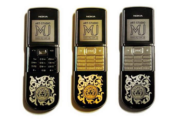 MJ Versace Mobile Phone - Nokia 8800 Sirocco Engraving, Buttons from Stone, Gold, Platinum.
