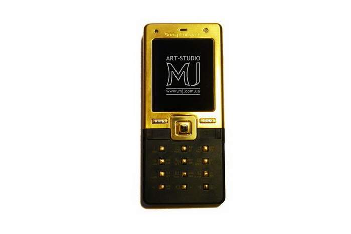 MJ Sapphire Mobile Phone - Sony Ericsson Gold Case & Buttons Inlaid Diamonds & Quad Sapphire