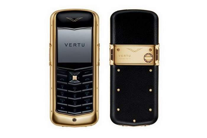 MJ Gold Cell Phone - Vertu Constellation Gold, Genuine Young Cow & Pig Leather